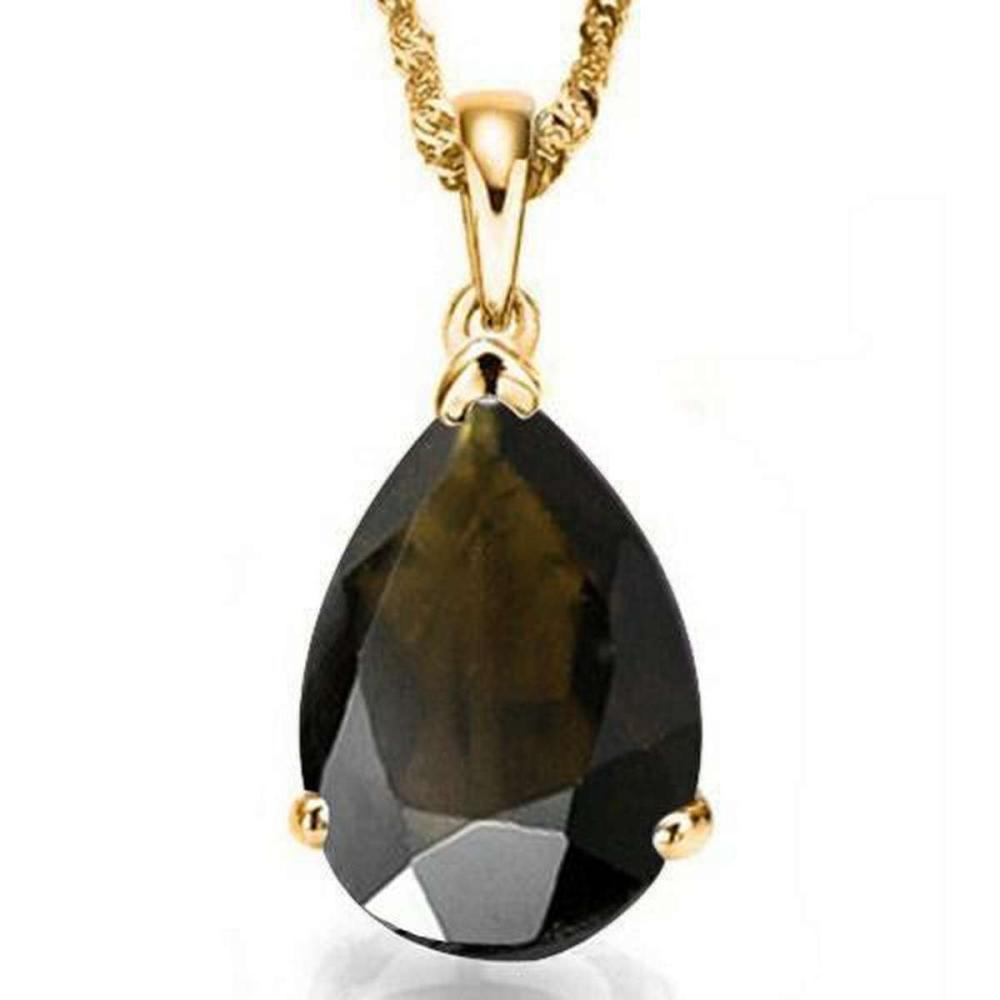 0.7 CTW SMOKEY 10K SOLID YELLOW GOLD PEAR SHAPE PENDANT #IRS36950