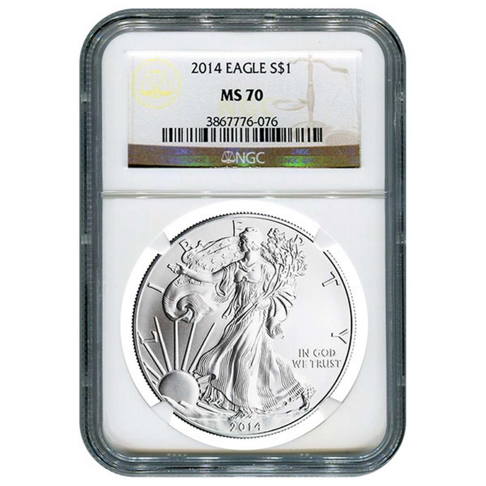 Certified Uncirculated Silver Eagle 2014 MS70 NGC #IRS98305