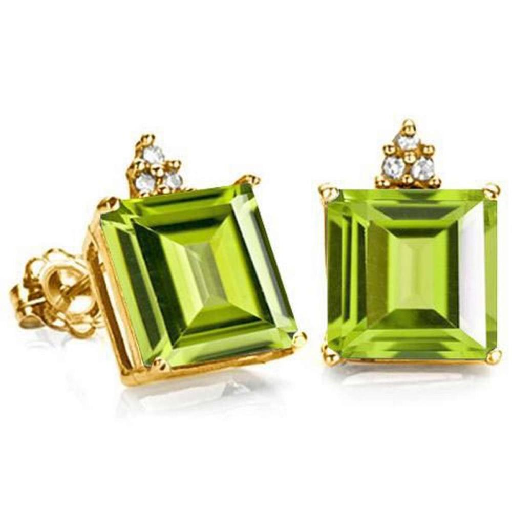 2.15 CARAT PERIDOT 10K SOLID YELLOW GOLD SQUARE SHAPE EARRING WITH 0.03 CTW DIAMOND #IRS48878