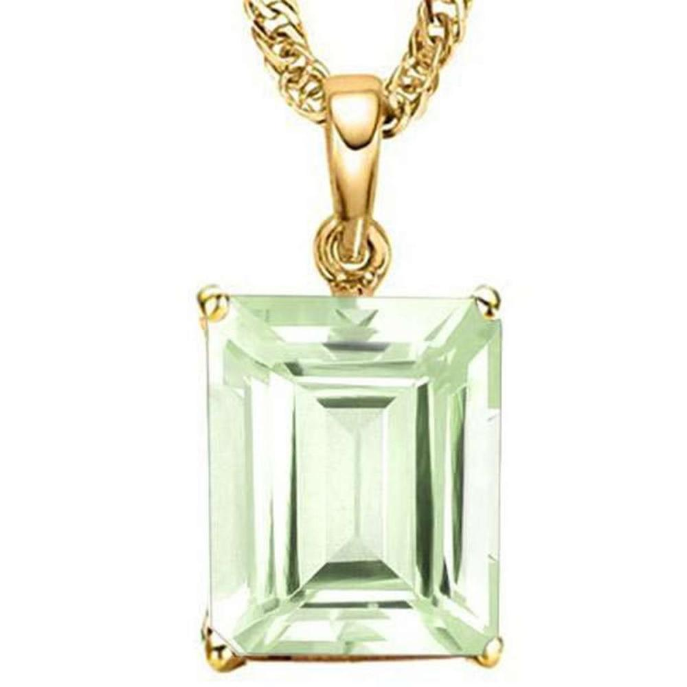 0.9 CTW GREEN AMETHYST 10K SOLID YELLOW GOLD OCTWAGON SHAPE PENDANT #IRS36937