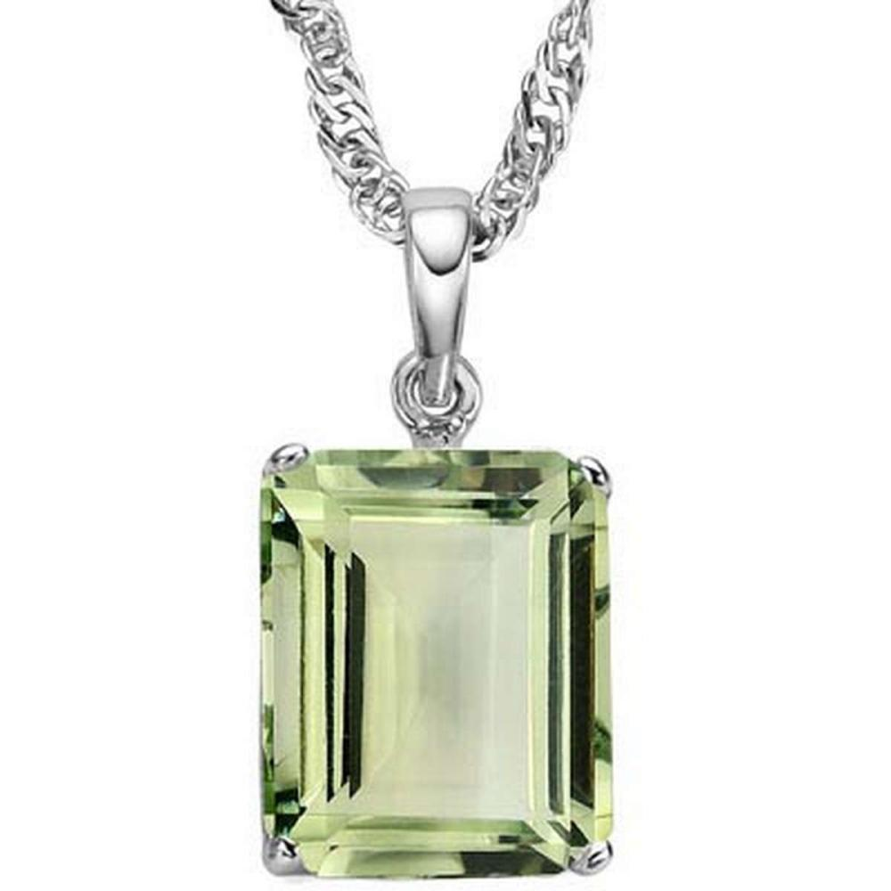 0.9 CTW GREEN AMETHYST 10K SOLID WHITE GOLD OCTWAGON SHAPE PENDANT #IRS36850