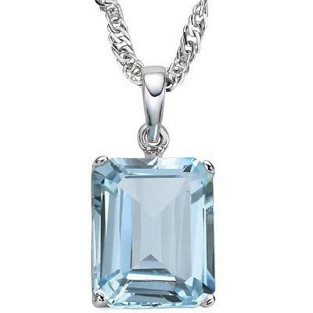 1.2 CTW SKY BLUE TOPAZ 10K SOLID WHITE GOLD OCTWAGON SHAPE PENDANT #IRS36853