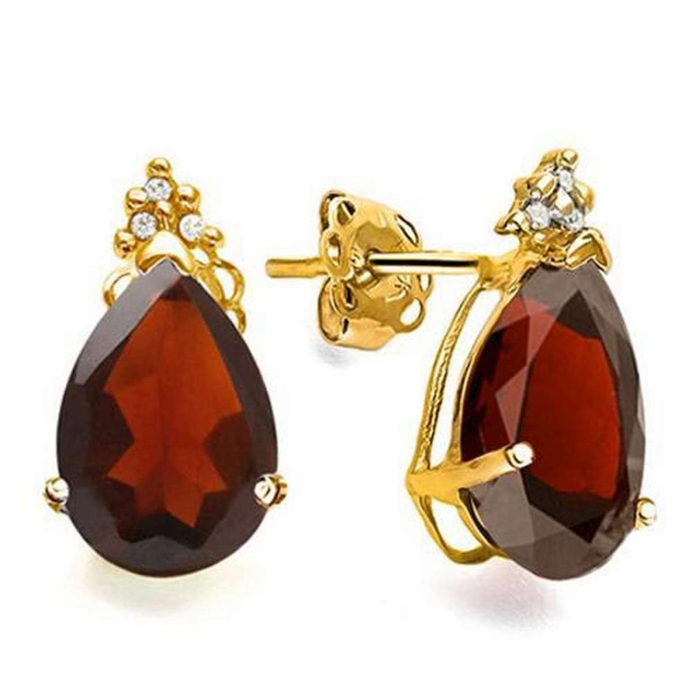 1.65 CARAT GARNET 10K SOLID YELLOW GOLD PEAR SHAPE EARRING WITH 0.03 CTW DIAMOND #IRS48852
