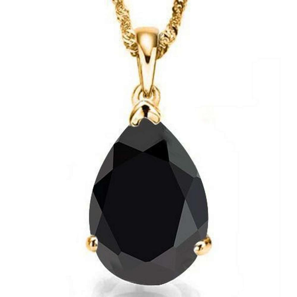 1.0 CTW BLACK SAPPHIRE 10K SOLID YELLOW GOLD PEAR SHAPE PENDANT #IRS36943