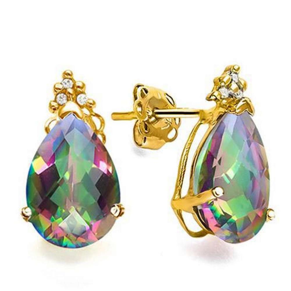1.3 CARAT MYSTICS GEMSTONE 10K SOLID YELLOW GOLD PEAR SHAPE EARRING WITH 0.03 CTW DIAMOND #IRS48851