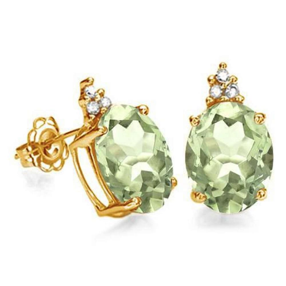 1.35 CARAT GREEN AMETHYST 10K SOLID YELLOW GOLD OVAL SHAPE EARRING WITH 0.03 CTW DIAMOND #IRS48833