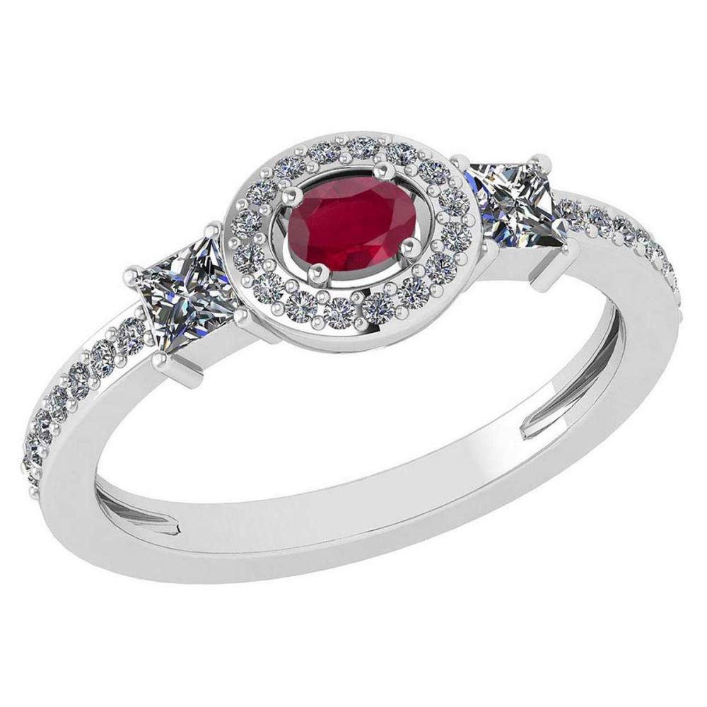 Certified 0.77 Ctw Ruby And Diamond 14k White Gold Halo Ring VS/SI1 #IRS99898