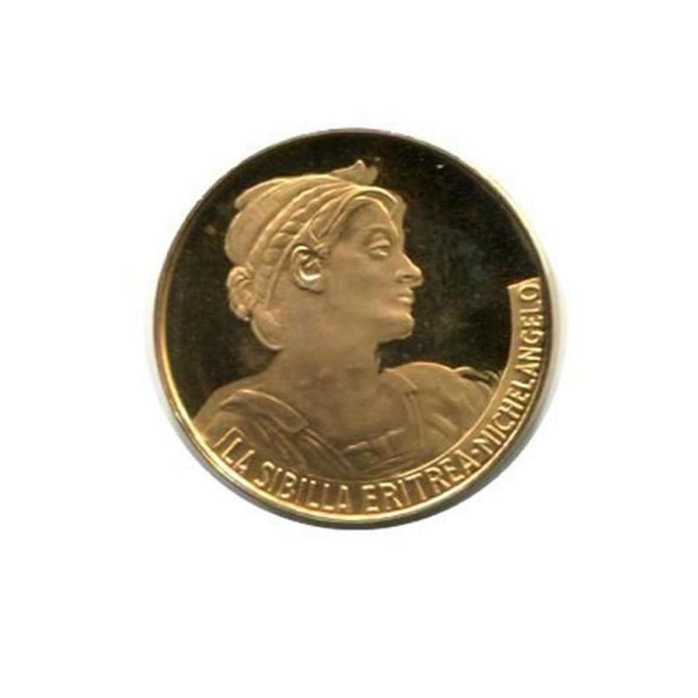 Great Works of the Past gold art medal 6.0 g. PF La Sibilla Eritrea by Michelangelo #IRS96461