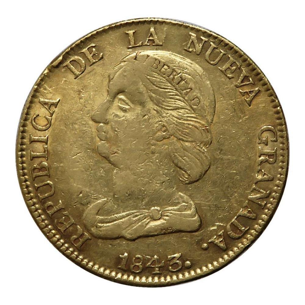 Colombia 16 Pesos Gold 1843 VF #IRS96292