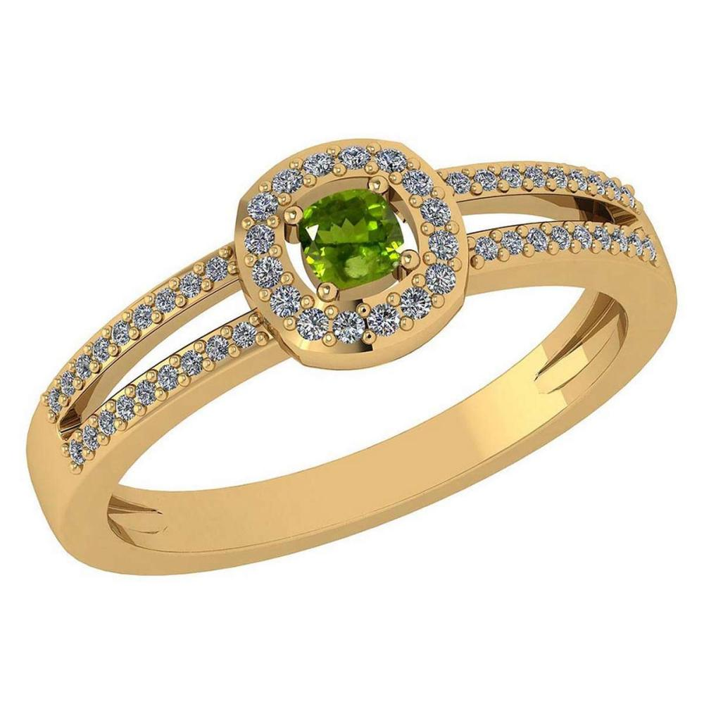 Certified 0.57 Ctw Peridot And Diamond 14k Yellow Gold Halo Ring VS/SI1 #IRS99971