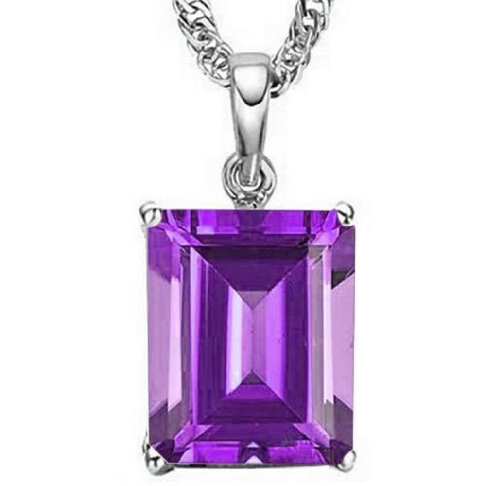 1.0 CTW AMETHYST 10K SOLID WHITE GOLD OCTWAGON SHAPE PENDANT #IRS36848