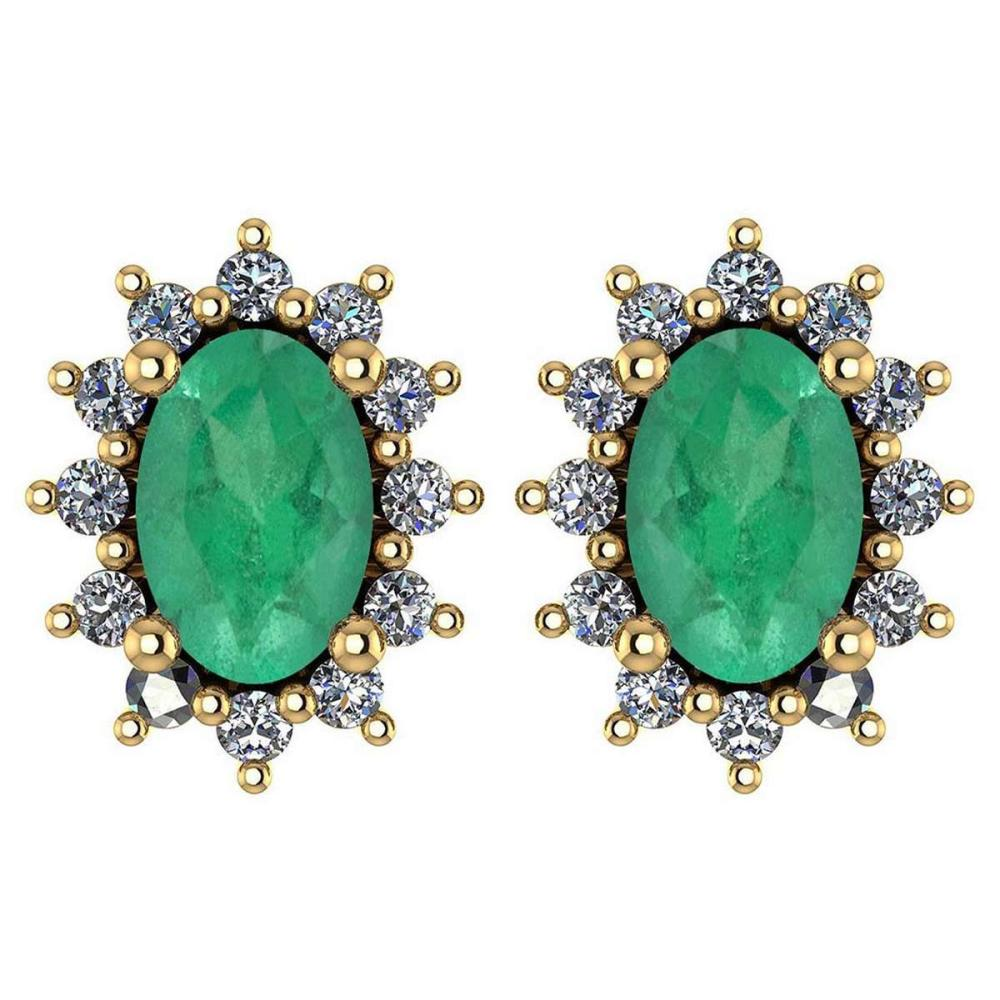 Certified 1.24 Ctw Emerald And Diamond 14k Yellow Gold Halo Stud Earrings #IRS99833