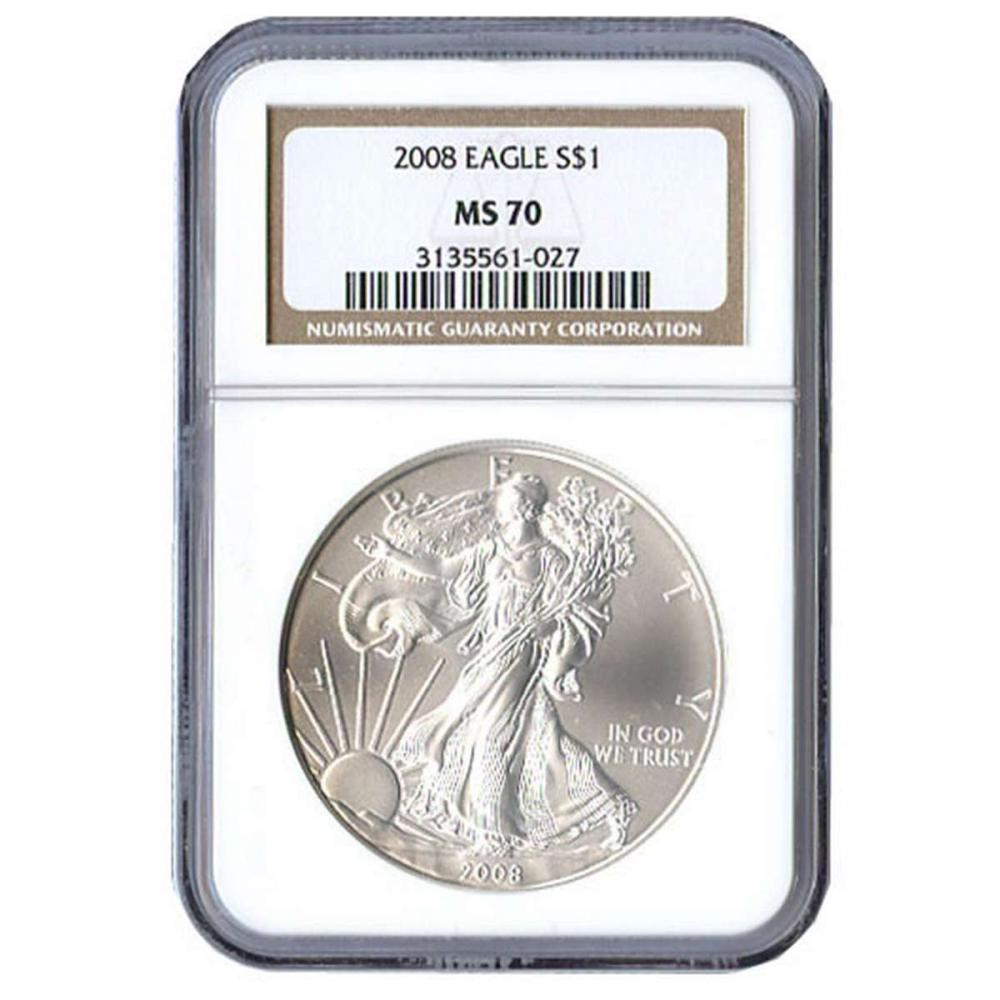 Certified Uncirculated Silver Eagle 2008 MS70 NGC #IRS98314