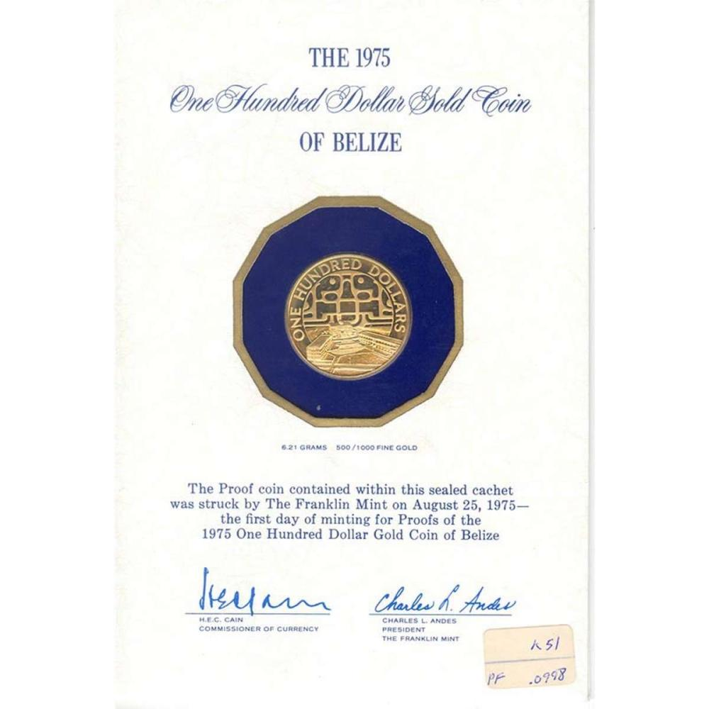 Belize $100 Gold Proof 1975 United Nations #IRS96287