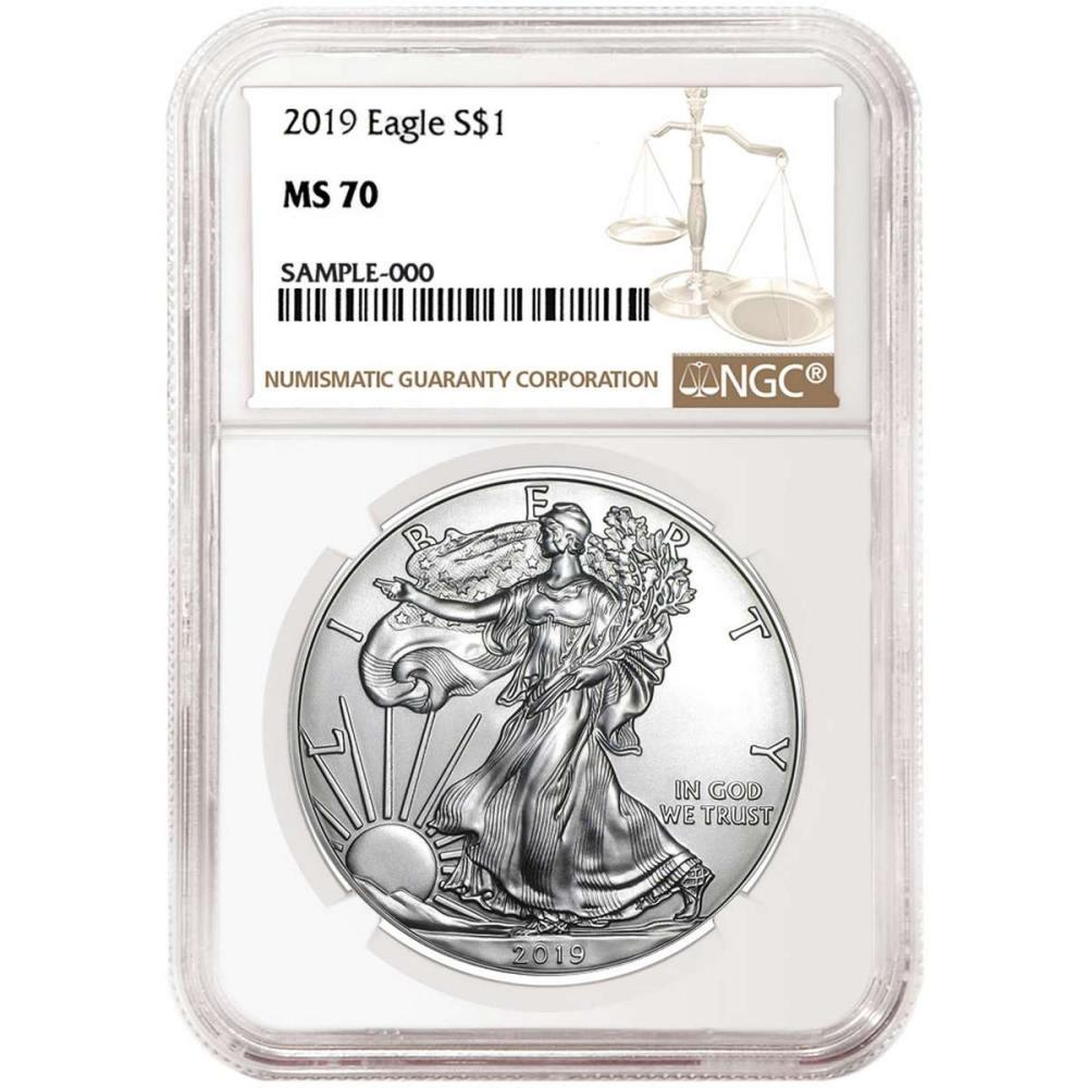 Certified Uncirculated Silver Eagle 2019 MS70 NGC #IRS98299