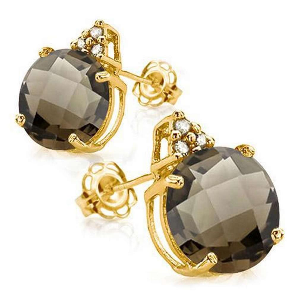 1.4 CARAT SMOKEY 10K SOLID YELLOW GOLD ROUND SHAPE EARRING WITH 0.03 CTW DIAMOND #IRS48868