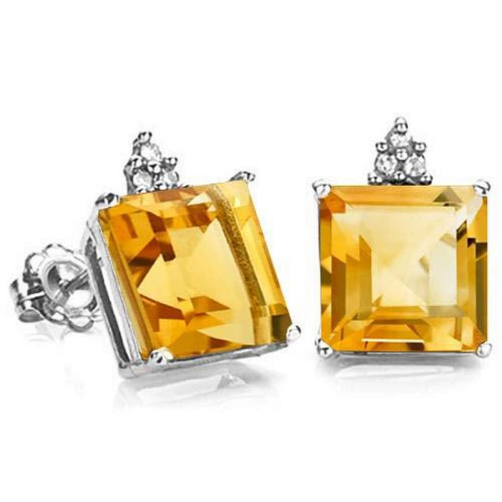 1.7 CARAT CITRINE 10K SOLID WHITE GOLD SQUARE SHAPE EARRING WITH 0.03 CTW DIAMOND #IRS48821