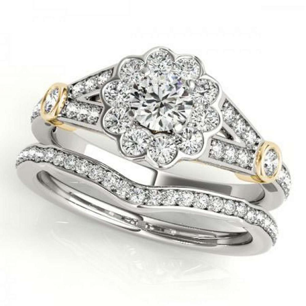CERTIFIED 18KT TWO TONE GOLD 1.12 CTW G-H/VS-SI1 DIAMOND HALO BRIDAL SET #IRS86713