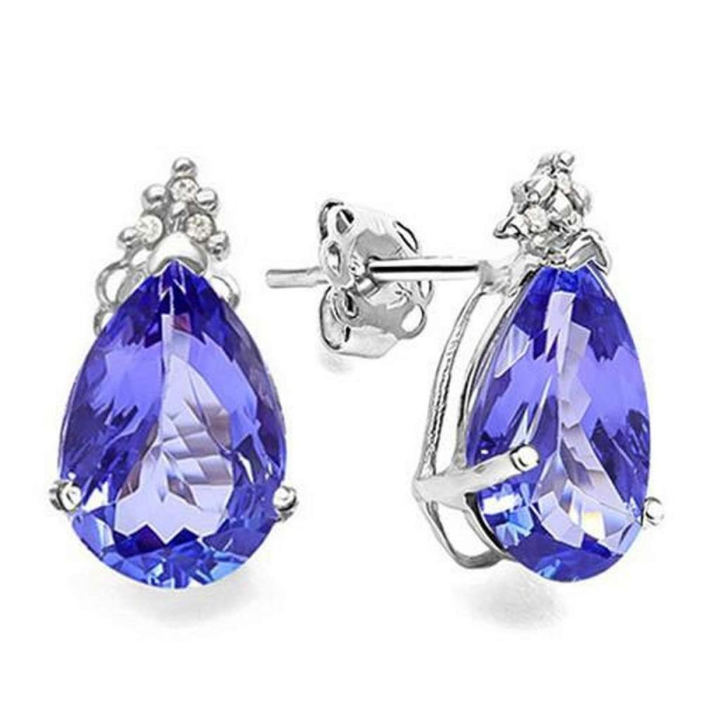 2.35 CARAT LAB TANZANITE 10K SOLID WHITE GOLD PEAR SHAPE EARRING WITH 0.03 CTW DIAMOND #IRS48804