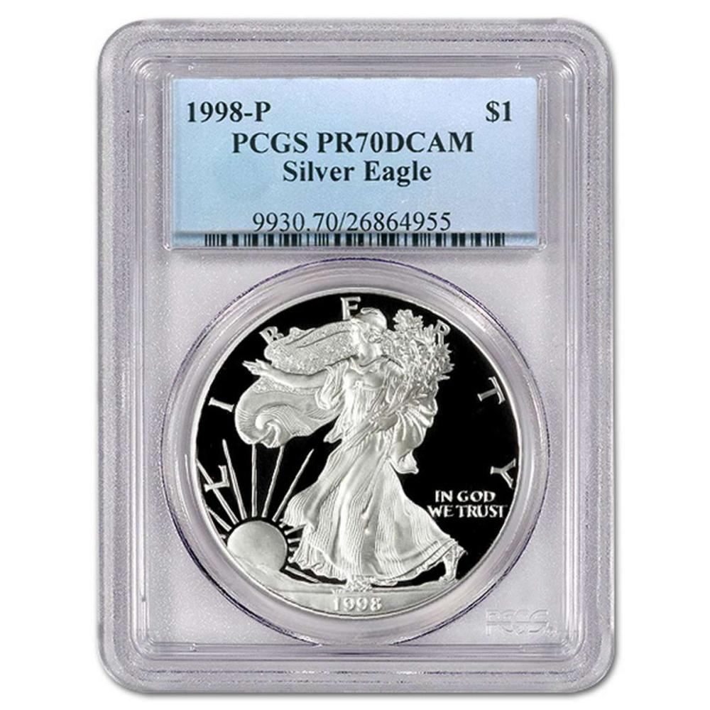 Certified Proof Silver Eagle 1998-P PR70DCAM PCGS #IRS98351