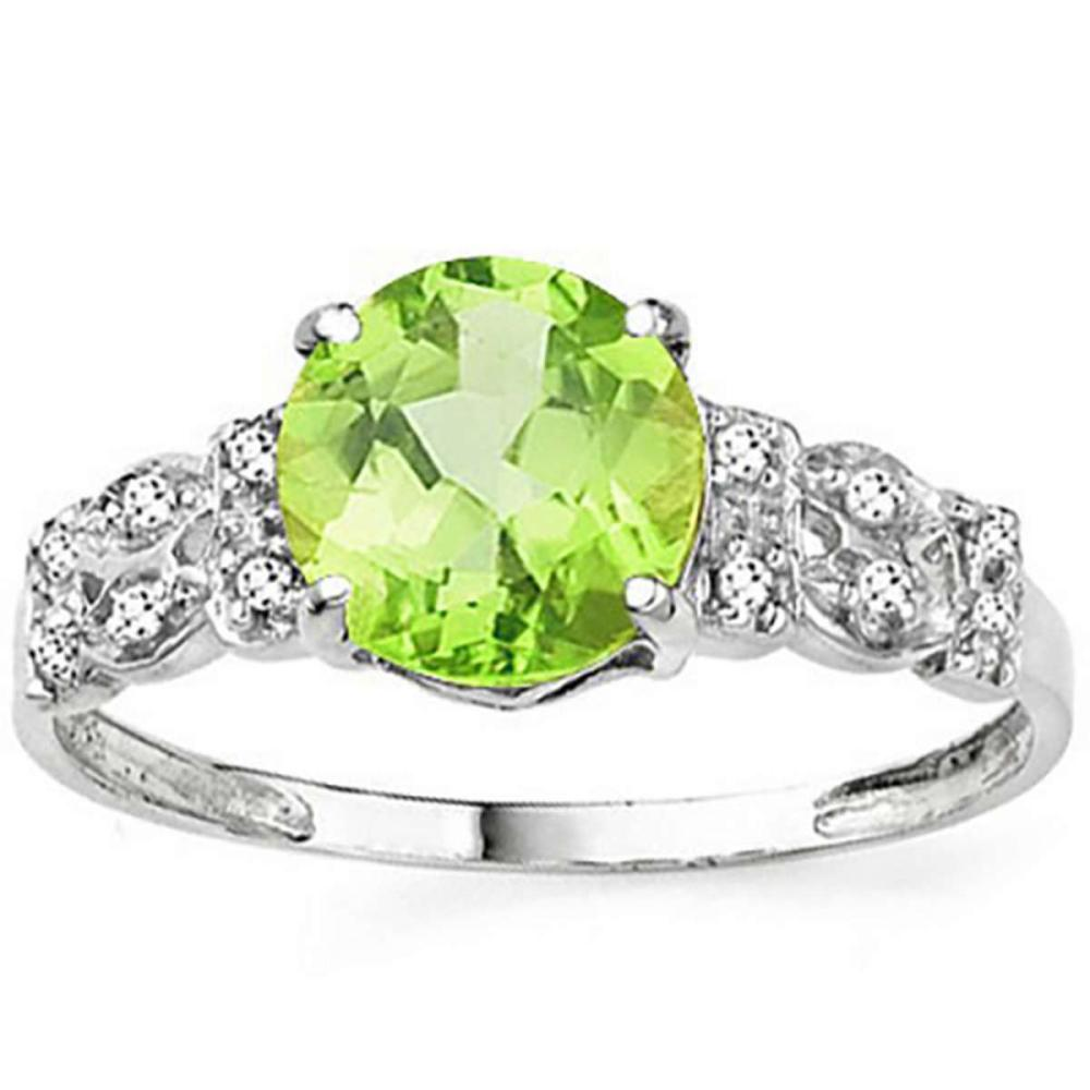 2.17 CTW GENUINE PERIDOT AND DIAMOND IN 14KT SOLID WHITE GOLD RING #IRS15461