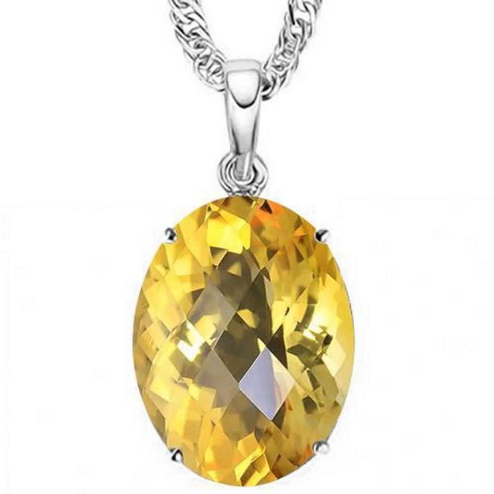 0.7 CTW CITRINE 10K SOLID WHITE GOLD OVAL SHAPE PENDANT #IRS36838