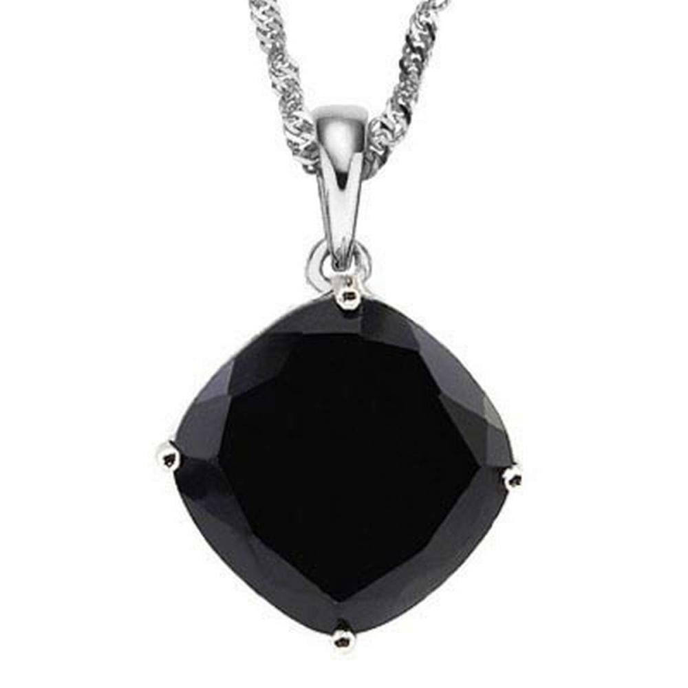 1.25 CTW BLACK SAPPHIRE 10K SOLID WHITE GOLD CUSHION SHAPE PENDANT #IRS36889