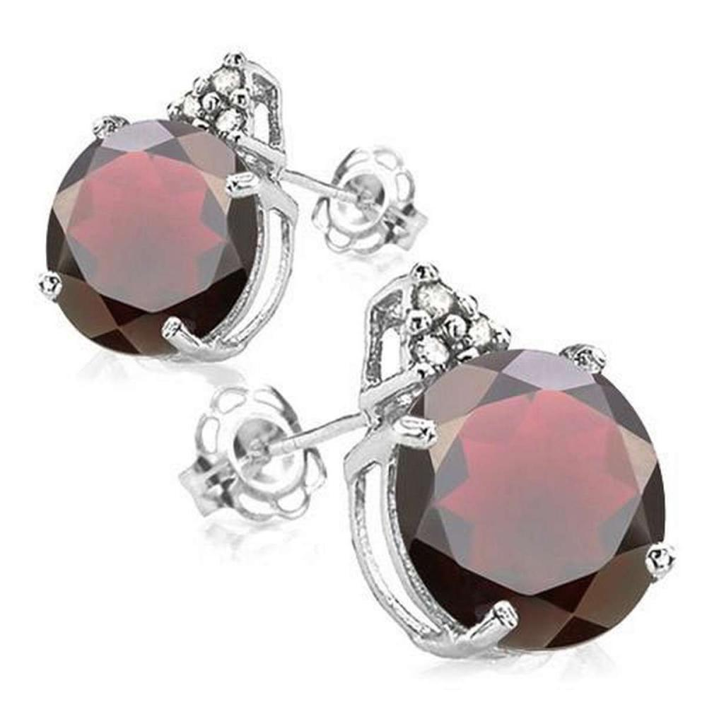 2.0 CARAT GARNET 10K SOLID WHITE GOLD ROUND SHAPE EARRING WITH 0.03 CTW DIAMOND #IRS48808
