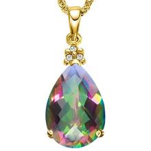 0eb61a7f0 9114002: 0.53 CTW RAINBOW MYSTIC 10K SOLID YELLOW GOLD PEAR SHAPE PENDANT  WITH ANCENT DIAMONDS #IRS15527