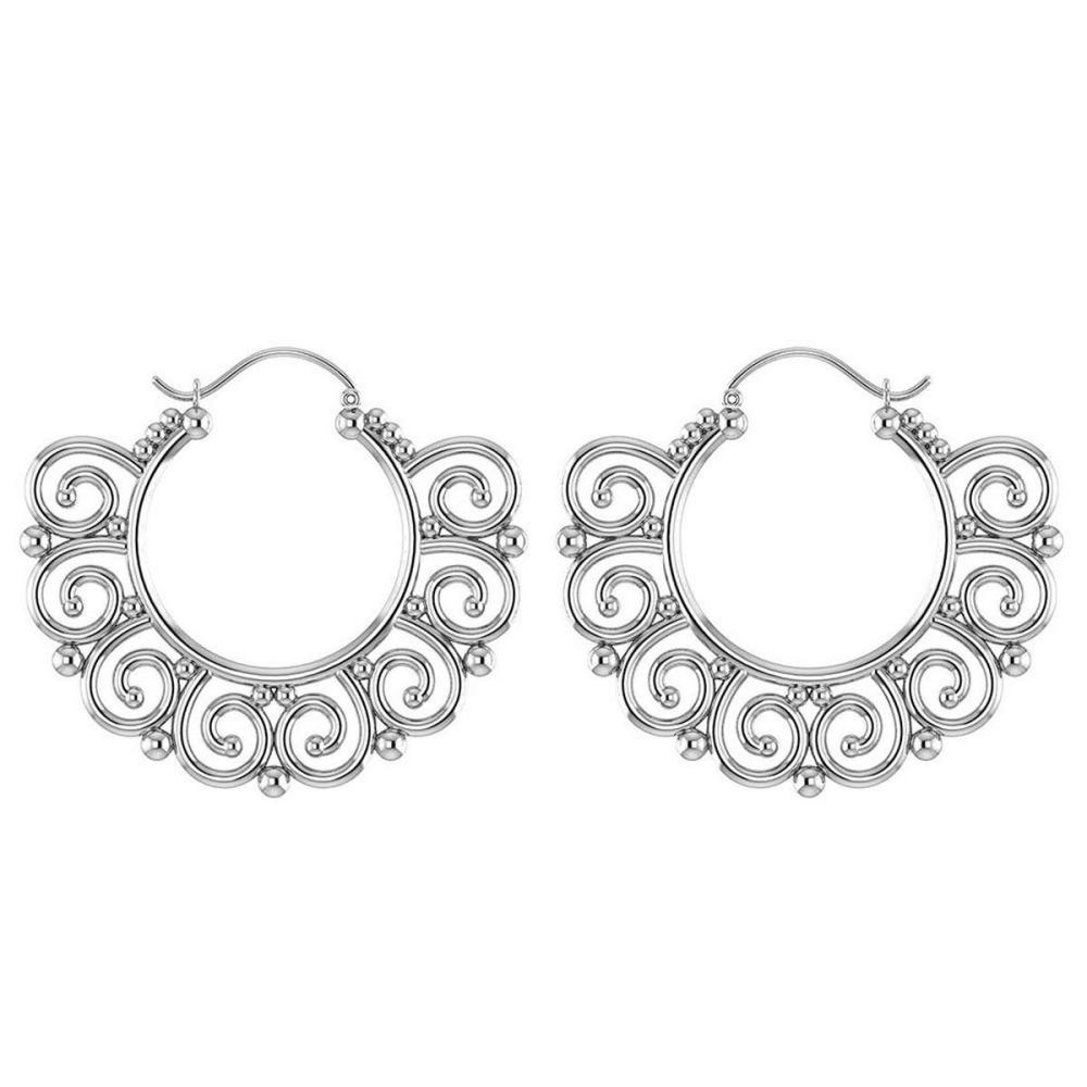 gold hoop earrings 18k white gold  irs26154