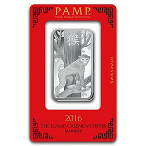 1 Oz Silver Bar Pamp Suisse Year Of The Monkey Irs74714