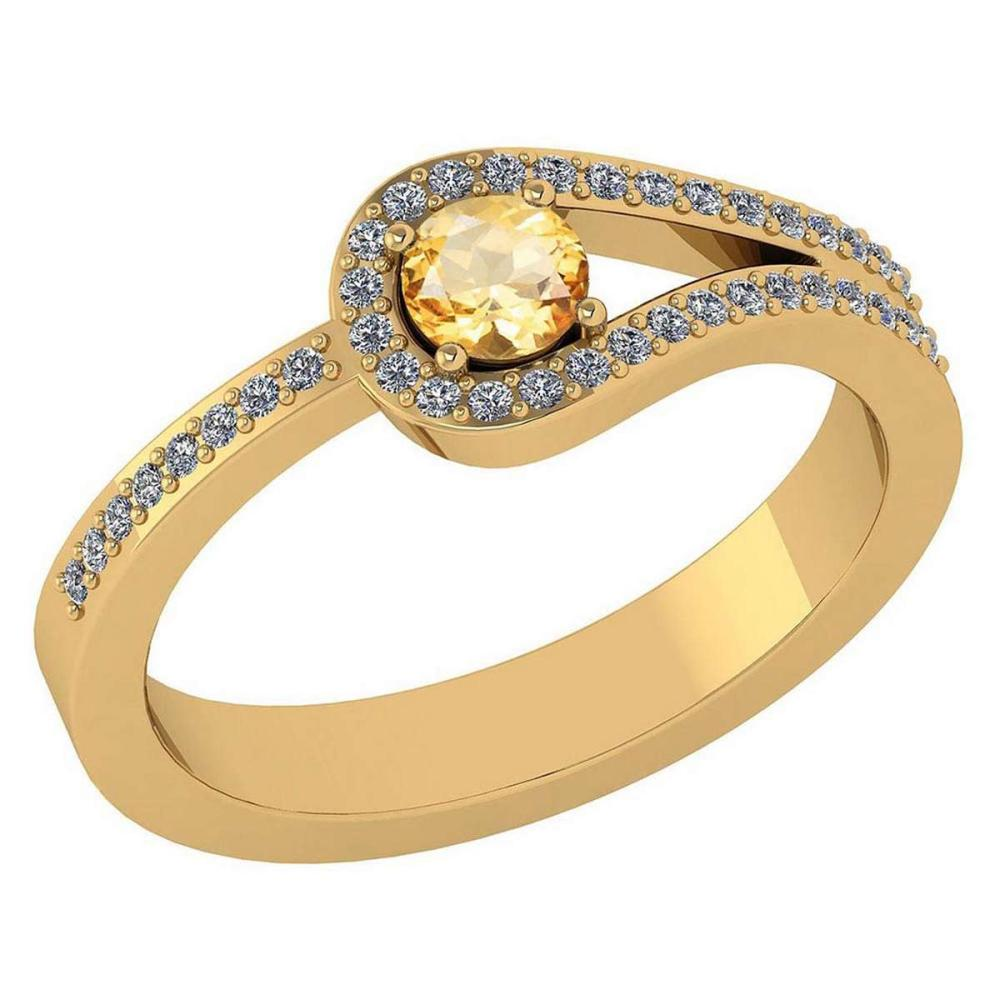 Certified 1.30 Ctw Citrine And Diamond 14k Yellow Gold Halo Ring VS/SI1 #IRS99375