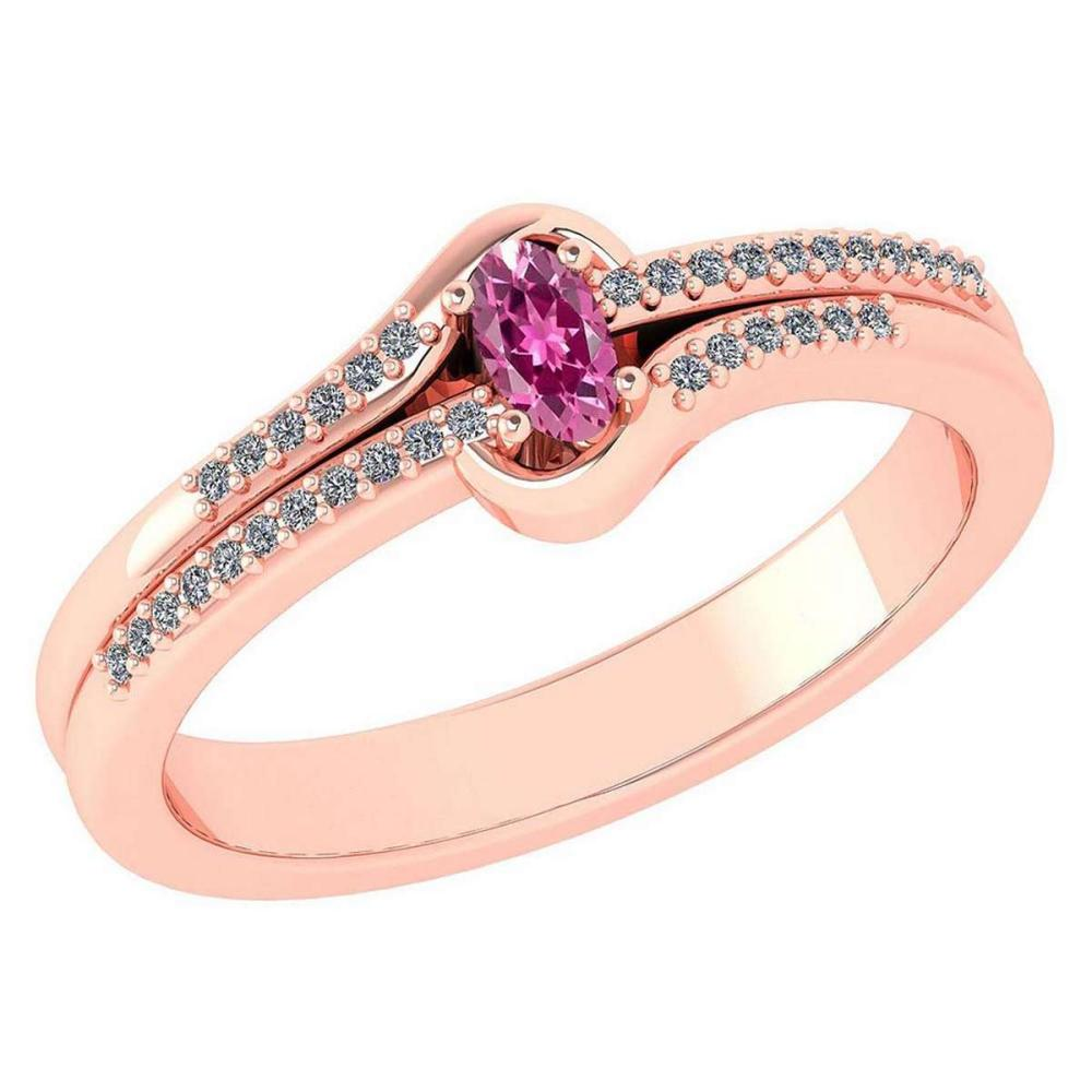 Certified 0.29 Ctw Pink Tourmaline And Diamond 14k Rose Gold Halo Ring VS/SI1 #IRS99422