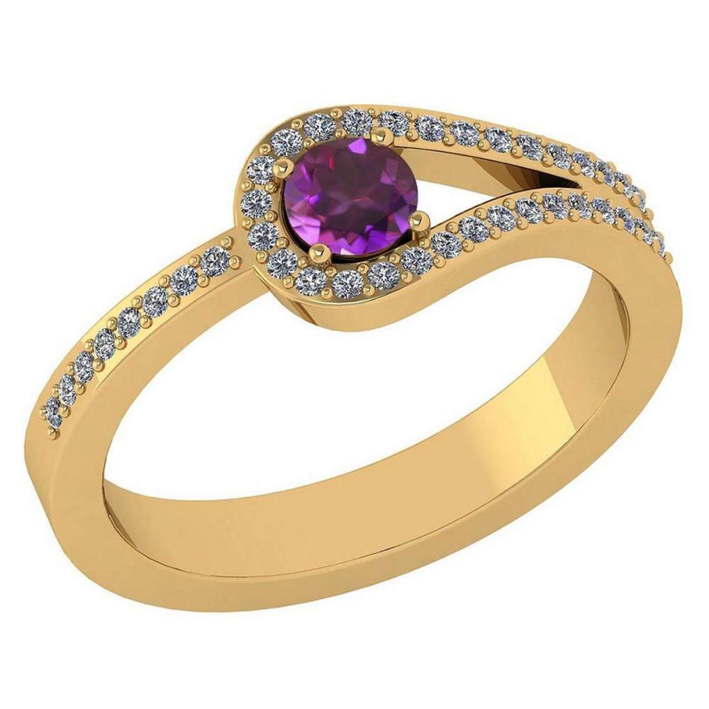 Certified 1.30 Ctw Amethyst And Diamond 14k Yellow Gold Halo Ring VS/SI1 #IRS99372