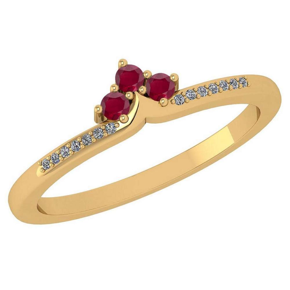 Certified 0.13 Ctw Ruby And Diamond 14k Yellow Gold Halo Ring VS/SI1 #IRS99468