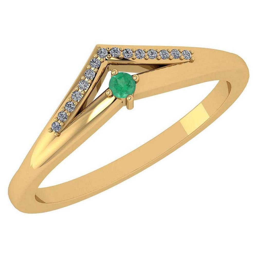 Certified 0.07 Ctw Emerald And Diamond 14k Yellow Gold Halo Ring VS/SI1 #IRS99480