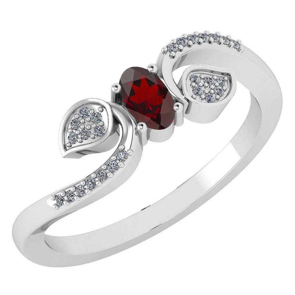 Certified 0.28 CTW Garnet And Diamond 14k White Gold Halo Ring #IRS98671