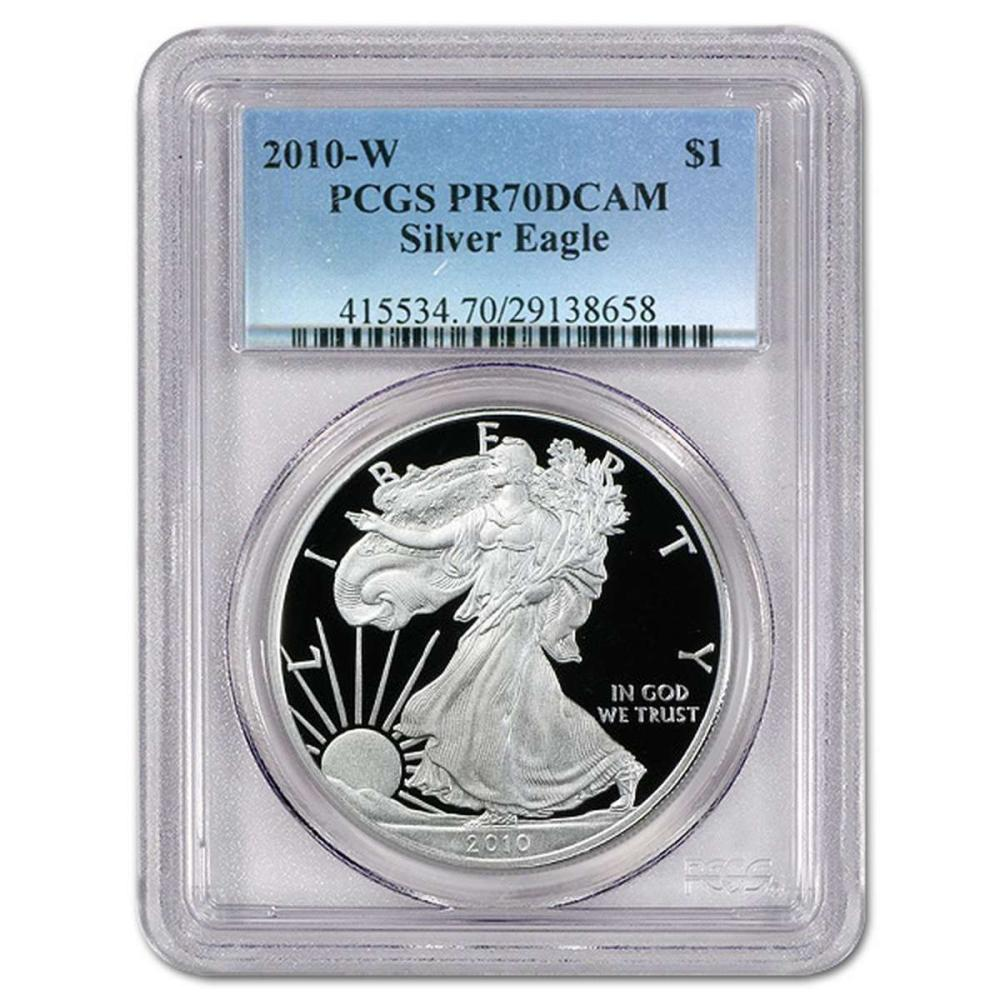 Lot 9114015: Certified Proof Silver Eagle 2010-W PR70DCAM PCGS #IRS98341