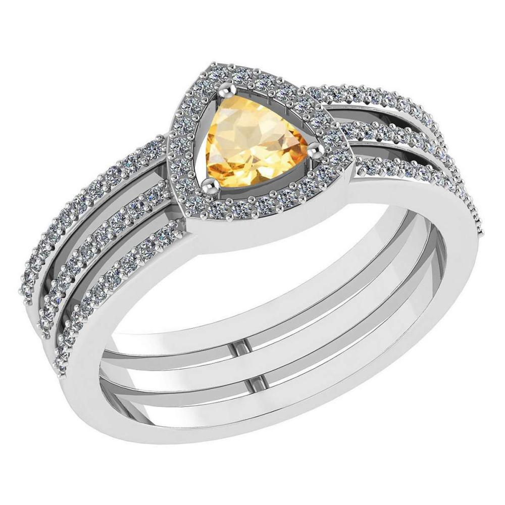 Certified 0.91 Ctw Citrine And Diamond 14k White Gold Halo Anniversary Ring #IRS97332