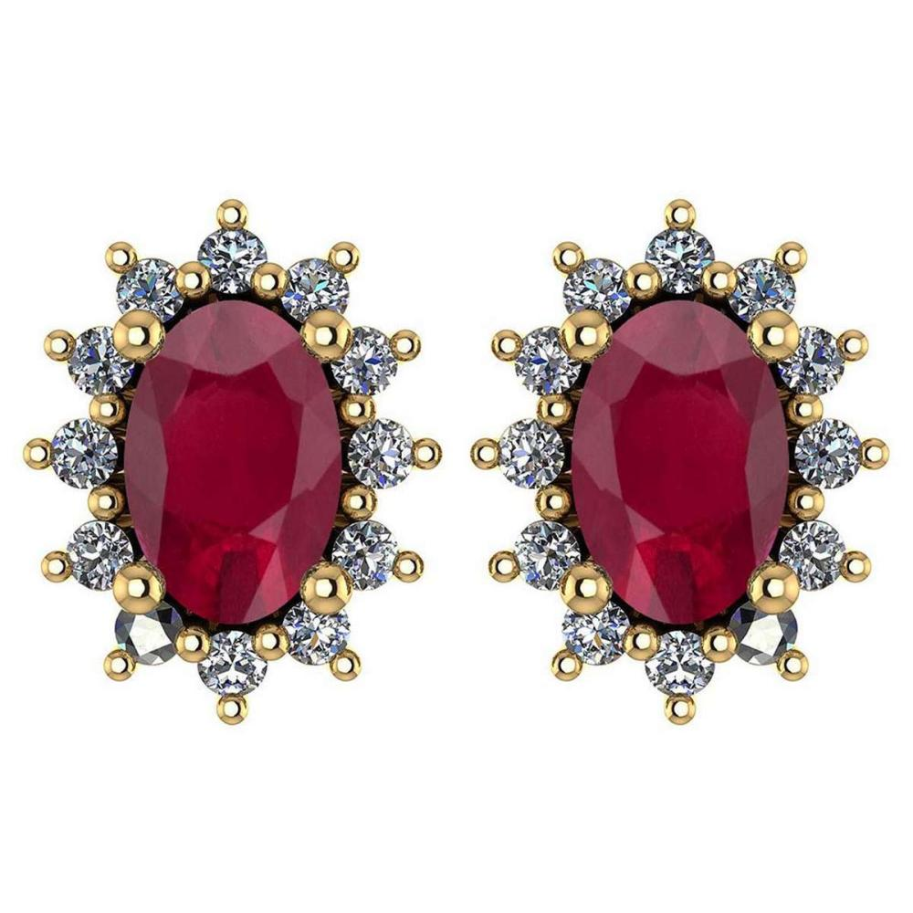 Certified 1.24 Ctw Ruby And Diamond 14k Yellow Gold Halo Stud Earrings #IRS99832