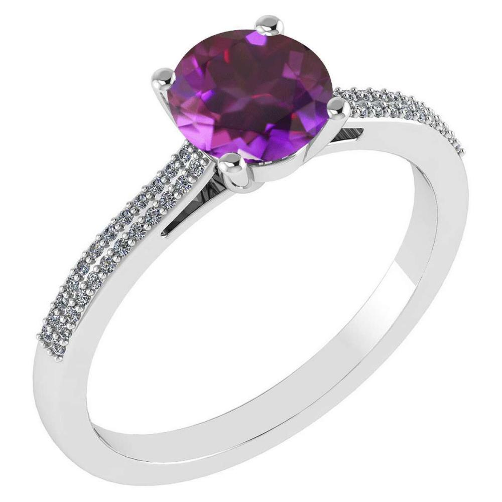 Certified 1.37 Ctw Amethyst And Diamond 14k White Gold Halo Ring #IRS97263
