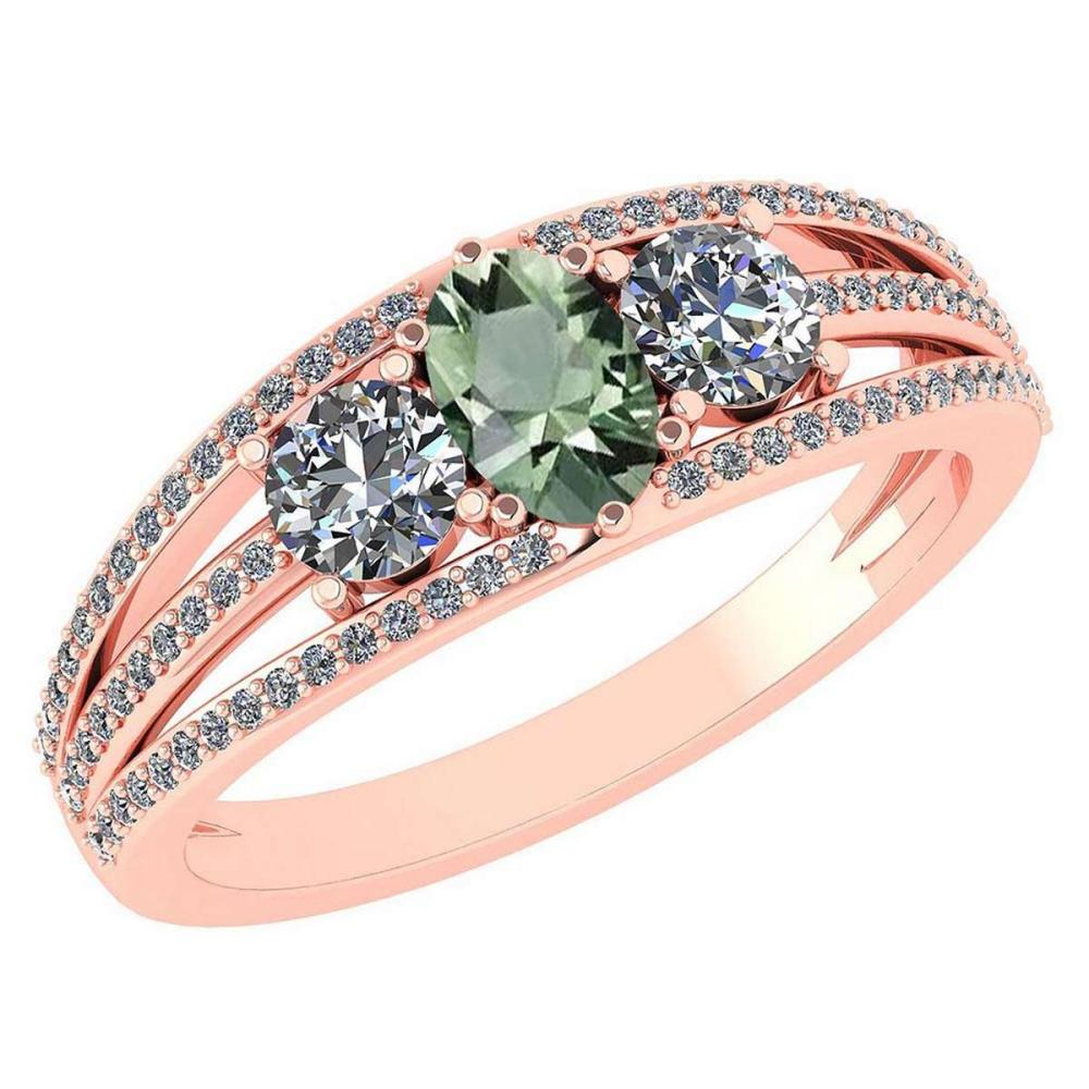 Certified 1.16 Ctw Green Amethyst And Diamond 14k Rose Gold Halo Ring VS/SI1 #IRS99398