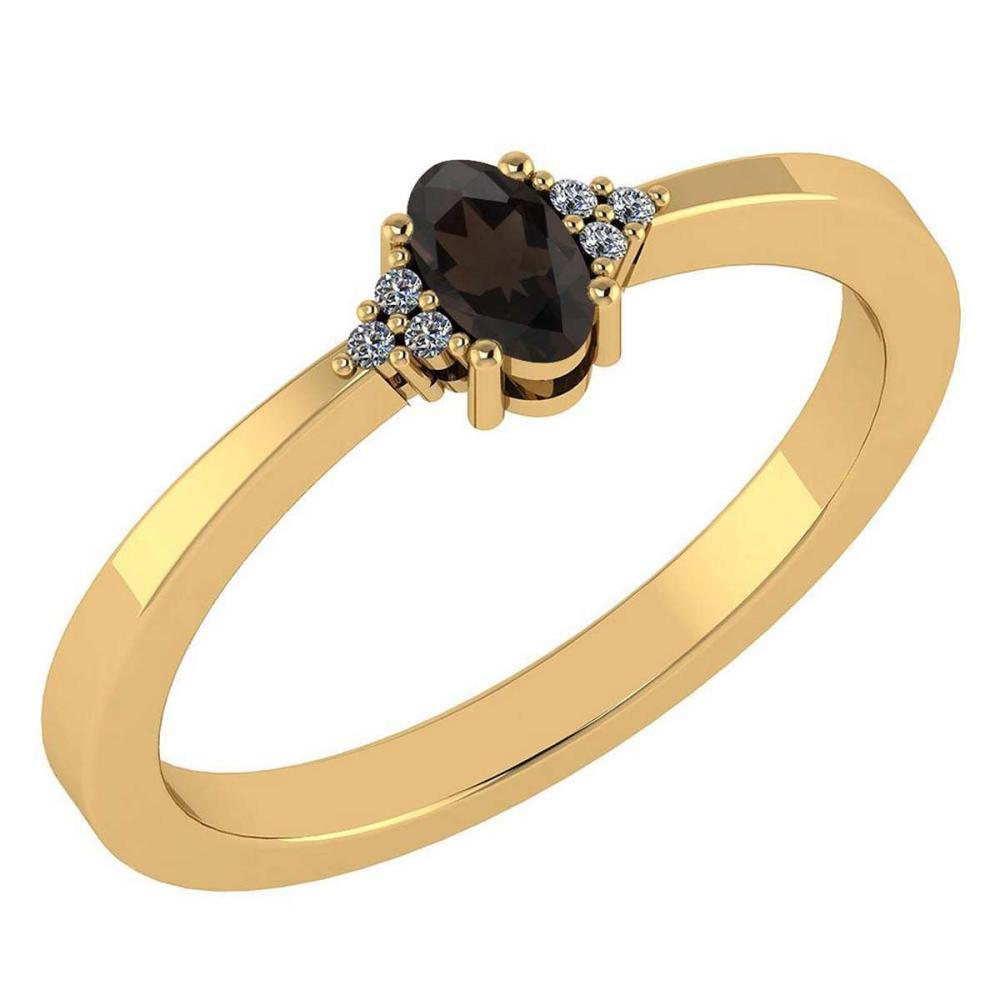 Certified 0.24 CTW Smoky Quarzt And Diamond 14k Yellow Gold Halo Ring #IRS98456