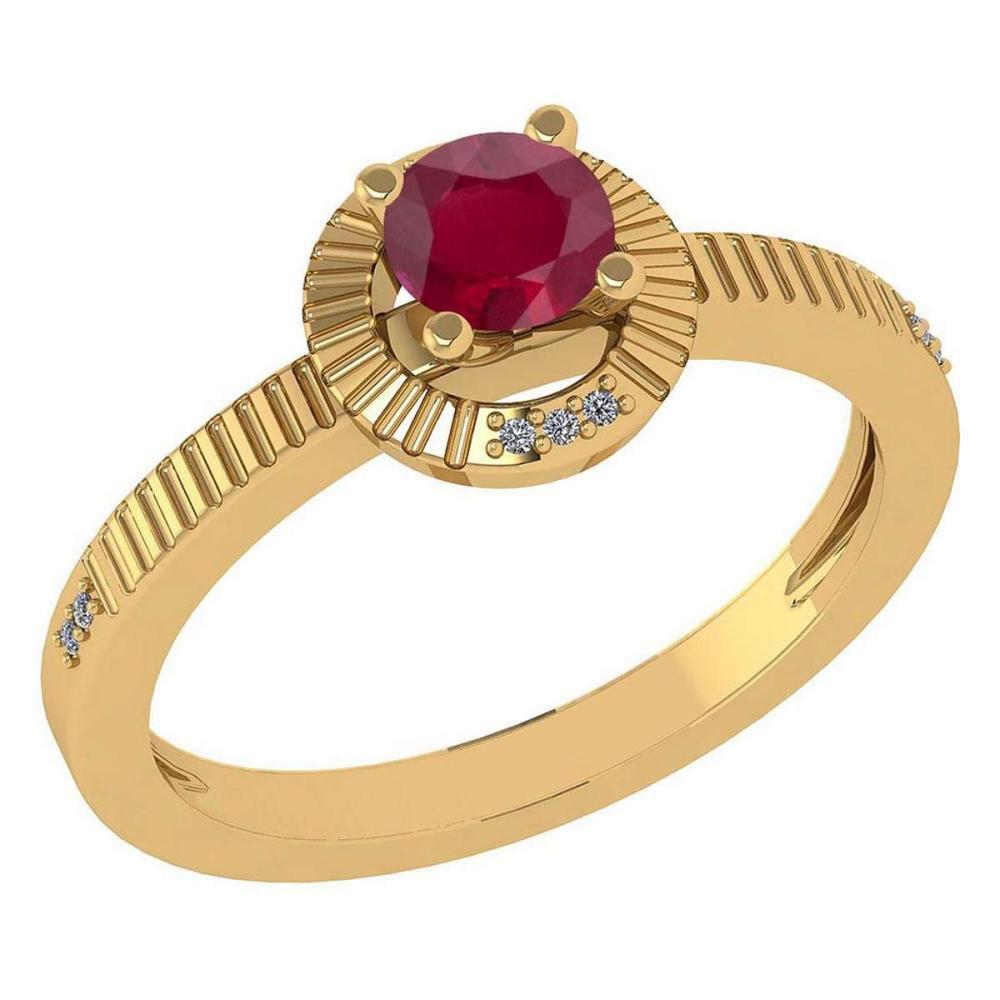 Certified 0.37 Ctw Ruby And Diamond 14k Yellow Gold Halo Ring #IRS99338