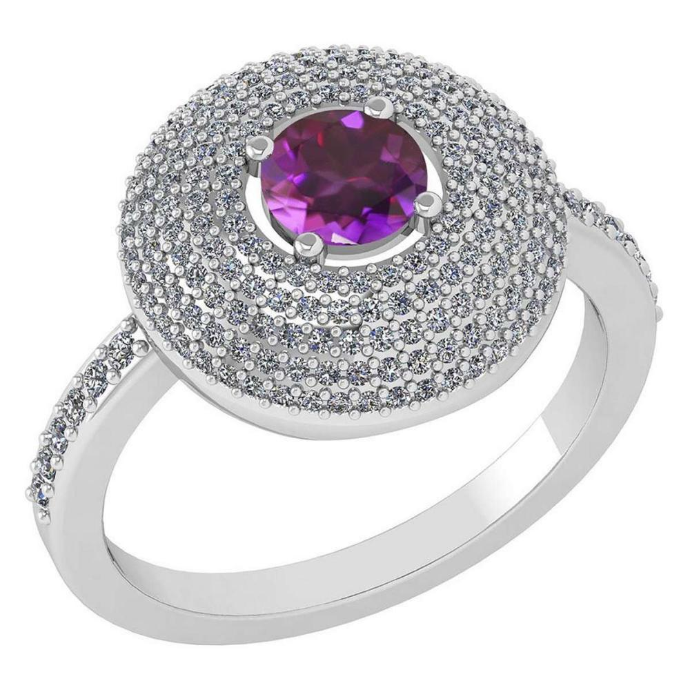 Certified 0.99 CTW Amethyst And Diamond 14k White Gold Halo Ring #IRS98641