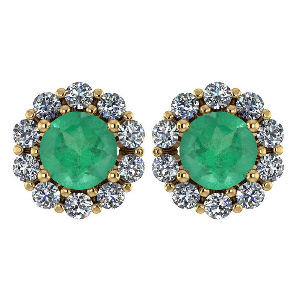 Certified 2.30 Ctw Emerald And Diamond 14k Yellow Gold Halo Stud Earrings #IRS97250