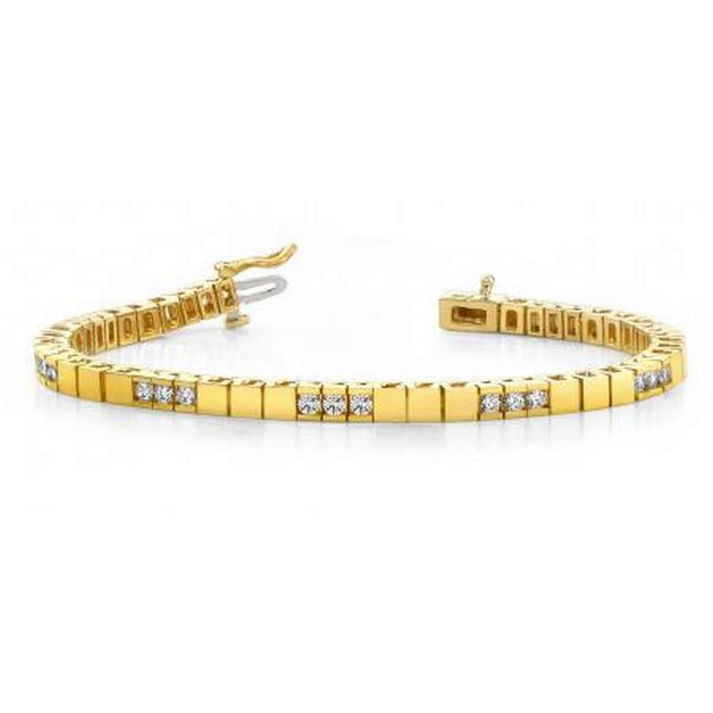 14K YELLOW GOLD 1 CTW G-H VS2/SI1 DIAMOND BUILDING BLOCK TENNIS BRACELET #IRS19970