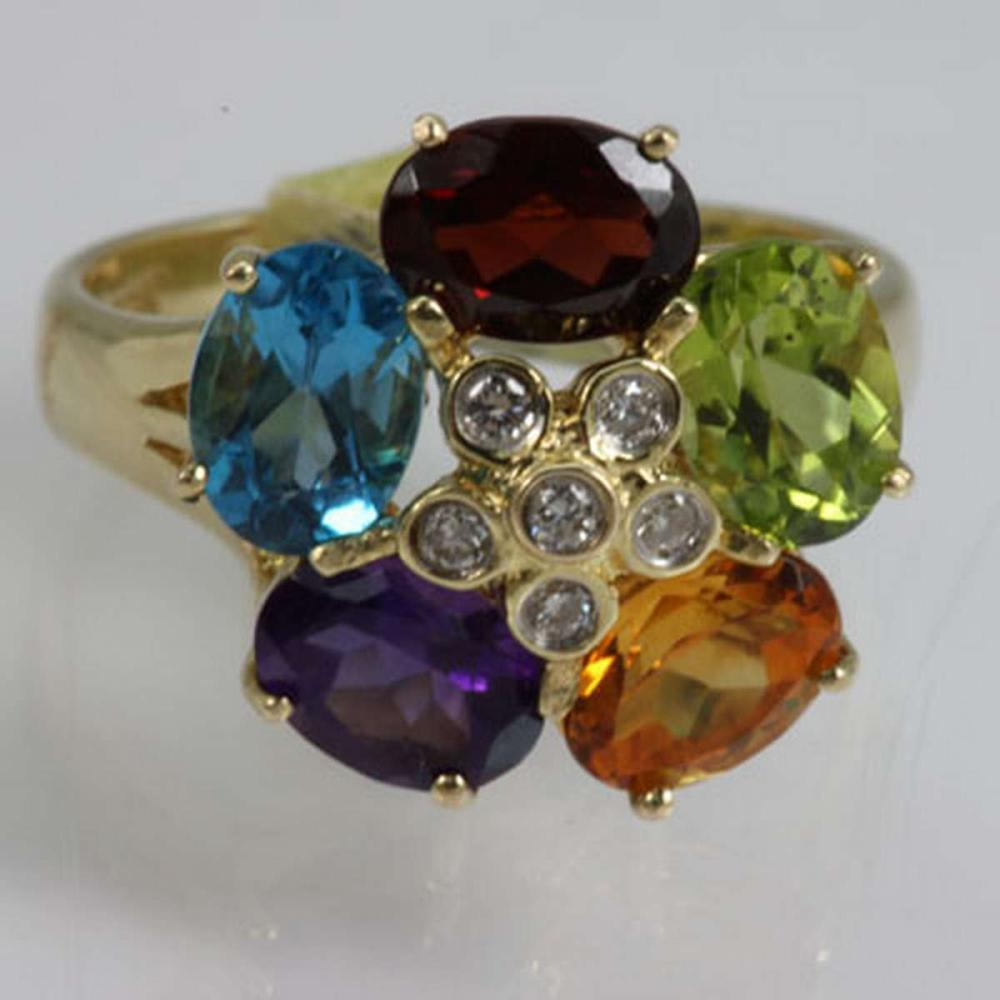 Genuine  3.2 ctw  Multi stone  Ring  14KT Yellow Gold #IRS31029