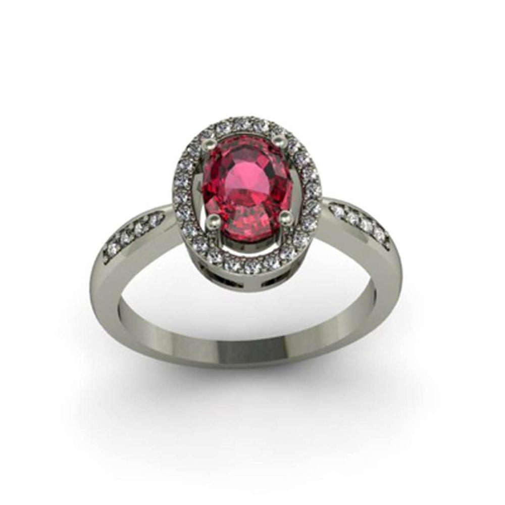 Garnet 1.65 ctw & Diamond Ring 18kt W/Y  Gold #IRS13737