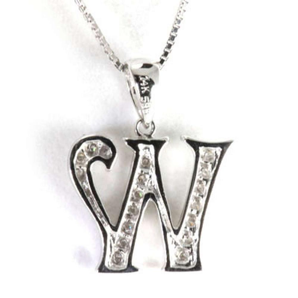 Genuine 0.14 ctw Letter W Diamond Necklace 16 14kt #IRS33346